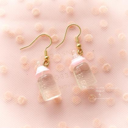 Baby Pink Clear Milk Bottle Dangle ..