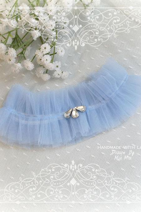 Light French Blue soft Silk Tulle Garter, rhinestone, Something Blue ,Ballerina Ruffles Tutu Bridal Lingerie Wedding ,Pearl Bling