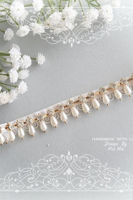 Simple Elegance Bling Sparkly Pearl Rhinestone Golden Garter, Rhinestone Bridal Wedding Garter Belt ,Honeymoon Single Crystal Garter Luxury