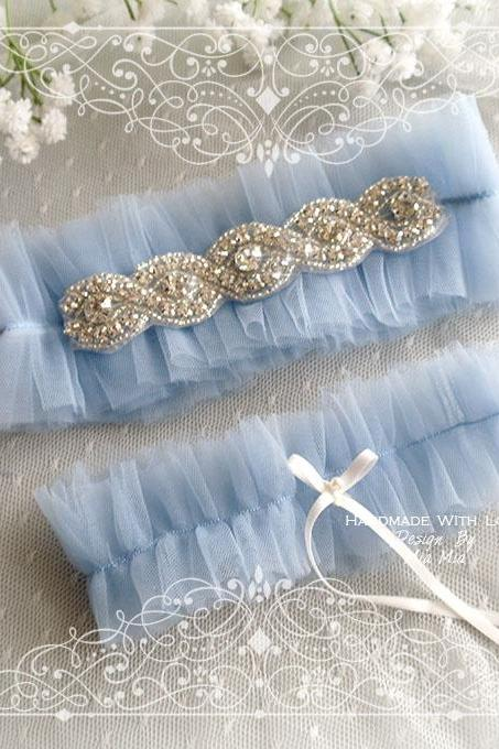 Luxury Light French Blue soft Silk Tulle GarterSet , rhinestone, Something Blue ,Ballerina Ruffles Tutu Bridal Lingerie Wedding ,bow,l Bling