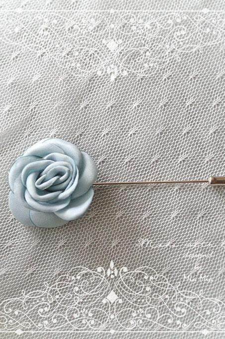 French Blue Satin Flower Men's flower Boutonniere Buttonhole for wedding,Lapel pin,hat pin,tie pin brooch accessories tie pin