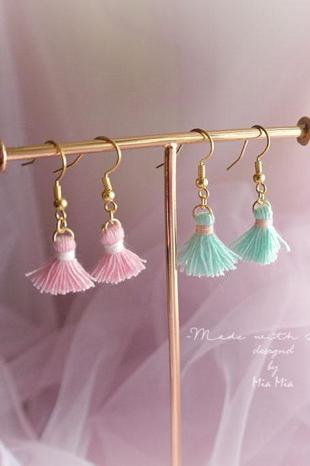 Tassels Earrings , Baby Pink Mint Green Mini Tassel Dangle earrings Romantic Elegance Boho Beautiful bohemian Gypsy Jewelry