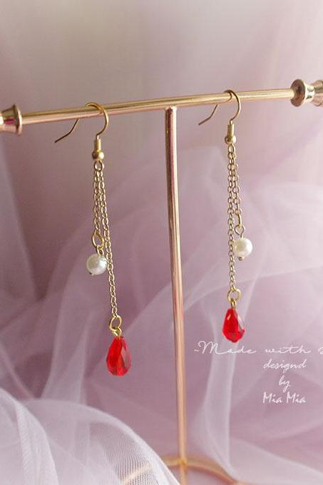 Vampire Red Waterdrop Crystal Faux Pearl Chain Drop earrings chandelier dangle gold tone jewelry lolita classic elegance boho