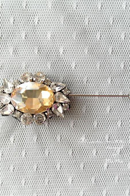 Luxury Yellow Rhinestone Men's Boutonniere Buttonhole for wedding,Lapel pin,hat pin,tie pin brooch accessories tie pin groom