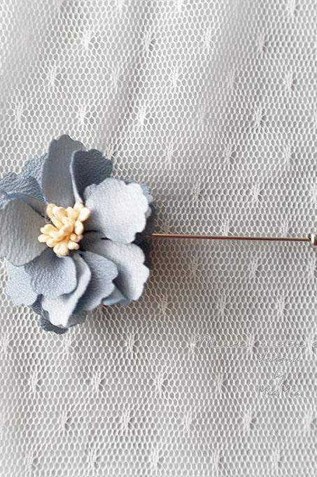 French Blue Flower Men's Boutonniere wedding faux leather Lapel pin,hat pin,tie pin brooch accessories tie pin , cufflinks Groom