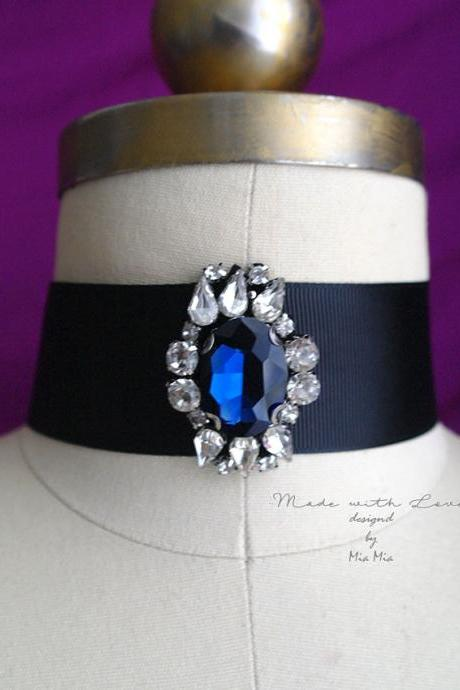 Victorian Choker Necklace, blue rhinestone crystal wide black choker luxury style Jewelry Gothic goth Gypsy Great Gatsby