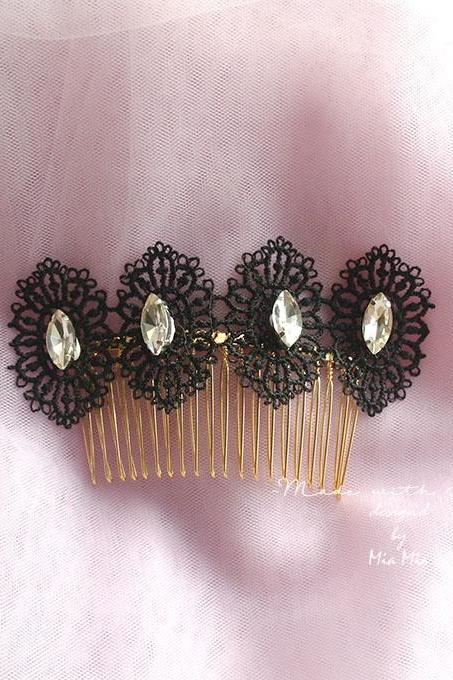 Gothic comb black lace rhinestone crystal wedding comb victorian 1920s lace comb decorative hairpiece bridal fascinator Jewelry accessories