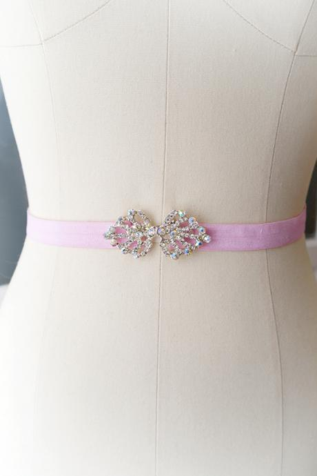 Rhinestone Crystal buckle Baby Pink shine Stretch Belt Skinny Sash Belt , wedding belt bridal sash dress belt