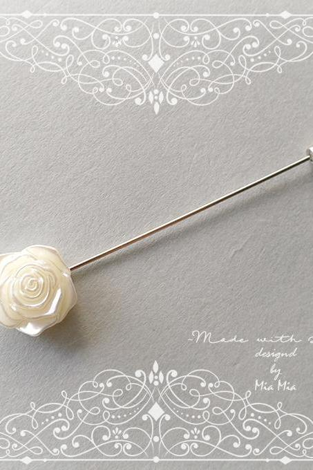 Pearl Flower Rose Men's Boutonniere Lapel Pin wedding,hat pin,tie pin brooch accessories Buttonhole pin