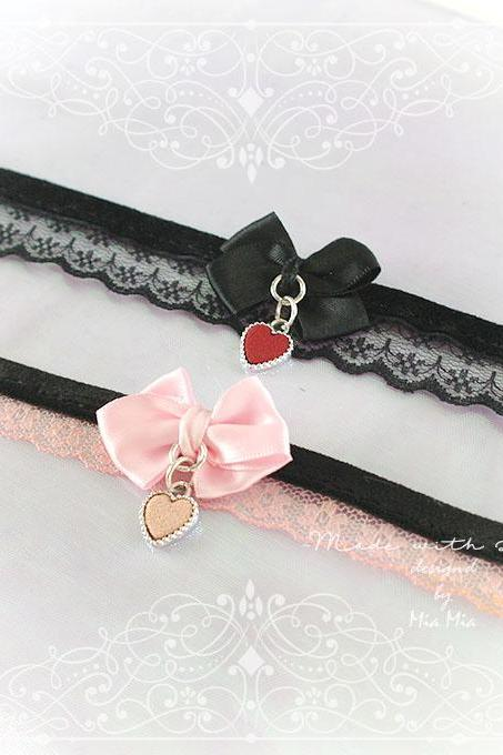 Kitten Pet Play Cat Collar Choker Necklace Baby Pink Lace Velvet Bow Red Heart kitty pastel goth Lolita Neko BDSM DDLG