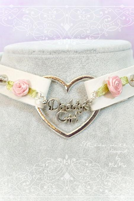 BDSM Daddys Girl Choker Necklace Off White Faux Leather Heart Pink Rose Spikes Kitten Play Collar pastel goth Lolita Neko Cat DDLG