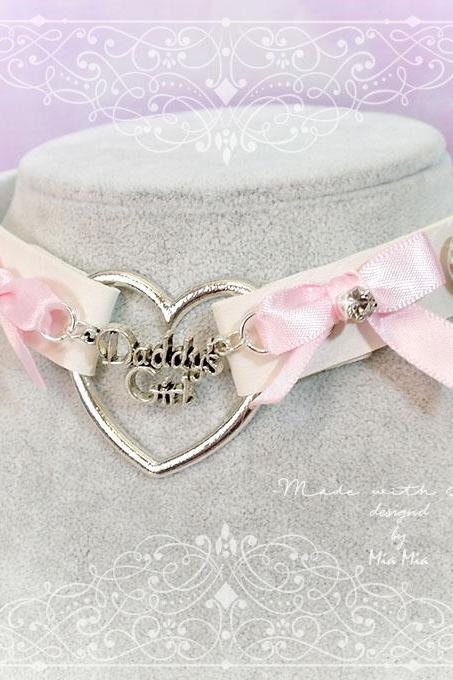 BDSM Daddys Girl Choker Necklace Off White Faux Leather Heart Pink Bow Rhinestone Kitten Play Collar pastel goth Lolita Neko Cat DDLG
