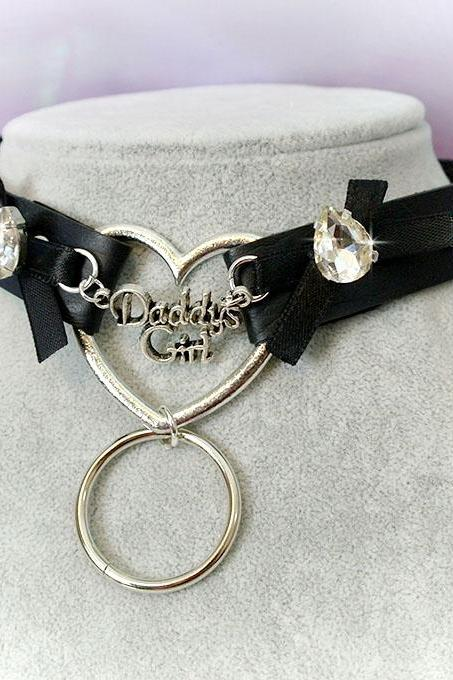 BDSM Daddys Girl Choker Necklace Black Faux Leather Heart O Ring Bow Rhinestone Spikes Kitten Play Collar pastel goth Lolita Neko Cat DDLG