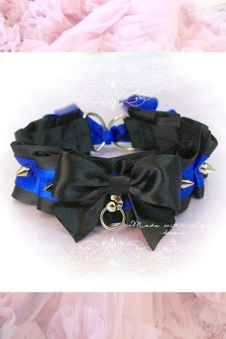 Kitten Pet Play Cat Collar , Choker Necklace Black Royal Blue Satin Bow O Ring Spikes Daddys Girl goth Lolita Neko BDSM DDLG Steampunk
