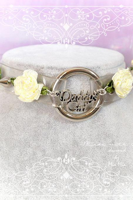BDSM Daddys Girl Choker Necklace Clear Sheer O Ring Spikes Beige Rose Kitten Play Collar goth Punk Rock DDLG Goth Fairy Kei Jewelry