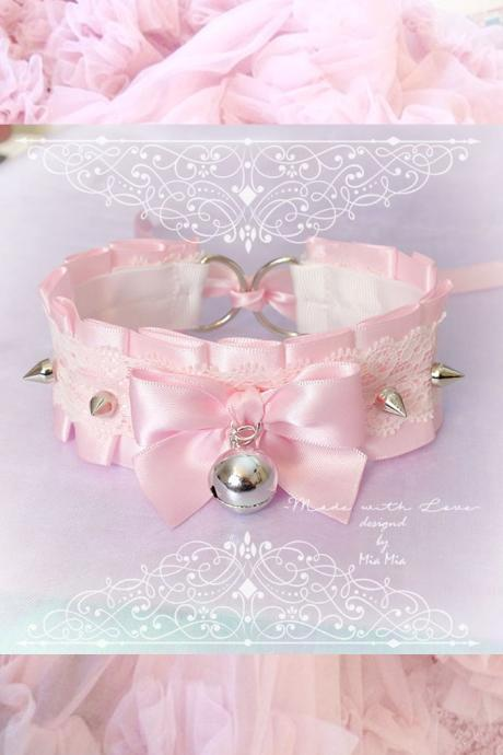 Kitten Pet Play Collar , BDSM DDLG Choker Necklace Pink Satin White Lace Ruffles Bow Bell Spikes Daddys Girl Kawaii pastel goth Fairy Kei