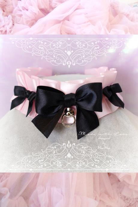 Choker Necklace , Kitten Play Collar,Baby Pink O Ring Black Bow ,Fairy Kei pastel goth Lolita ,Daddys Girl DDLG , BDSM ,Adult Baby