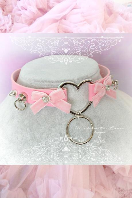 Choker Necklace ,Pink Faux Leather Heart Pink Velvet Bow Rhinestone Spikes O Ring , Kitten Play Collar, BDSM Daddys Girl , pastel goth, DDLG