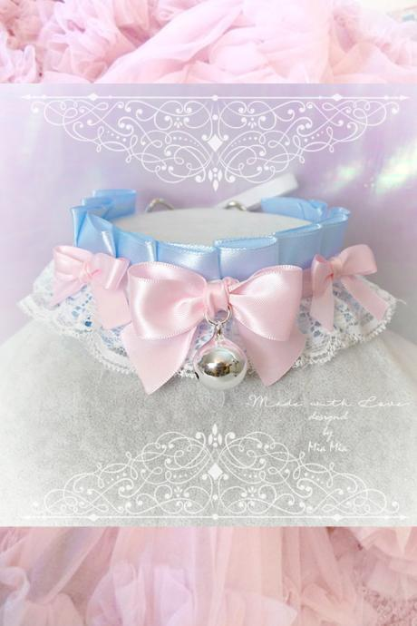 Choker Necklace ,Kitten Play Collar, DDLG White Baby Blue White Lace Pink Bow Bell,Daddys Girl Jewelry ,Maiden Lolita ,Fairy Kei, Rule Play