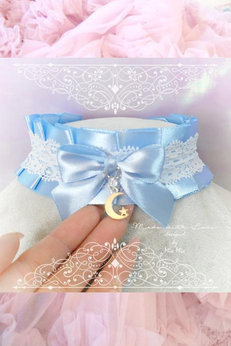 Choker Necklace ,Kitten Pet Rule Play Collar ,BDSM DDLG Light Blue White Lace Bow Moon Star Daddys Girl Kawaii pastel goth Fairy Kei
