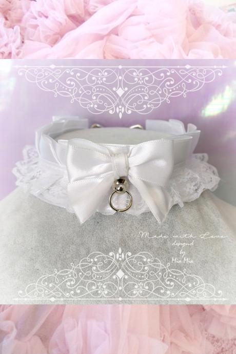 Choker Necklace ,Kitten Play Collar , All White Satin Lace Bow O Ring , Lolita Gothic, BDSM DDLG Daddys Girl Fairy Kei Lolita Jewelry