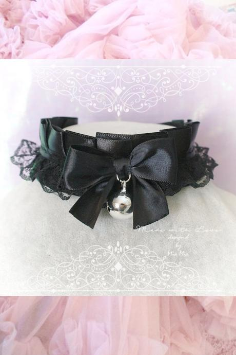 Choker Necklace ,Kitten Play Collar , All Black Satin Lace Bow Bell, Lolita Gothic, BDSM DDLG Daddys Girl Fairy Kei Jewelry