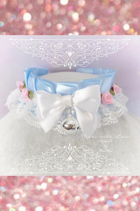 Choker Necklace ,Kitten Pet Play Collar, DDLG Baby Blue White Lace Bow Bell Pink Rose ,Daddys Girl Jewelry ,pastel Lolita ,Fairy Kei, BDSM