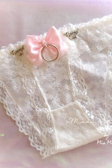 Daddys Girl Lingerie Ruffles White Lace Panties Pink Bow O Ring Back White Bow Rose DDLG Clothing BDSM Fairy Kei Kawaii