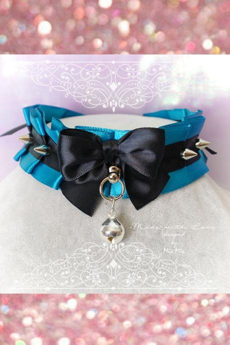 Choker Necklace ,Kitten Pet Play Collar, Tug Proof , Teal Green Black Bow O Ring Bell Spikes Daddys Girl Lolita Neko BDSM DDLG Steampunk