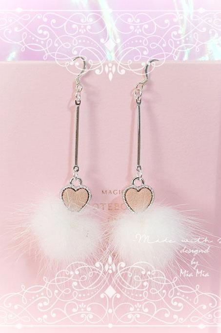 Little Pink Heart White Fur Ball earrings, chandelier dangle ,jewelry lolita very cute Kawaii Sweet DDLG Daddys Girl Jewelry