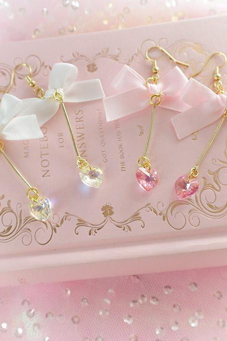 Bling Swarovski Crystal Heart White Pink Bow Earrings , chandelier dangle ,Lolita Cute Kawaii Sweet DDLG Daddys Baby Girl Fairy Kei Jewelry