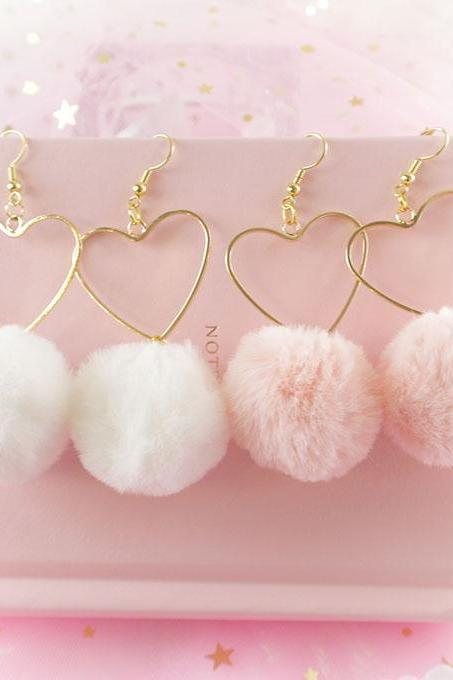 Sweetheart Lovely Heart Fur Ball White Pink Dangle Earrings ,Chandelier Lolita Cute Kawaii Sweet DDLG Daddys Baby Girl Fairy Kei Jewelry