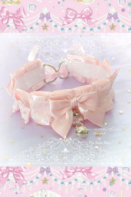 Choker Necklace,Kitten Pet Rule Play Collar ,Blush Pink White Lace Ruffles Bow O Ring Bell ,Tug Proof, BDSM DDLG Daddys Girl Kawaii Cute