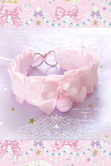 Kitten Pet Play Collar , BDSM DDLG Choker Necklace Pink Satin White Lace Ruffles Bow Pin Bell , Daddys Girl Kawaii pastel goth Fairy Kei