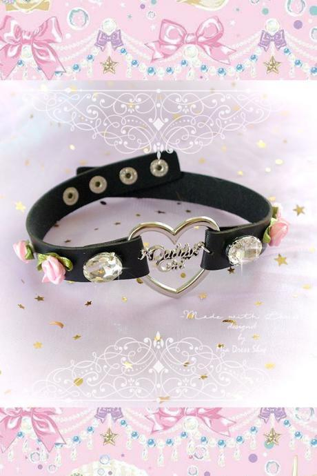 BDSM Daddys Girl Choker Necklace Collar Black Faux Leather Heart Rhinestone Pink Rose Flower Kitten Play Collar pastel goth Lolita DDLG