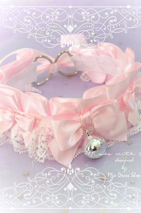 Choker Necklace ,Kitten Pet Play Collar DDLG Baby pink White Lace Liittle Bow Bell ,Daddys Girl Jewelry ,pastel Lolita ,Fairy Kei, BDSM