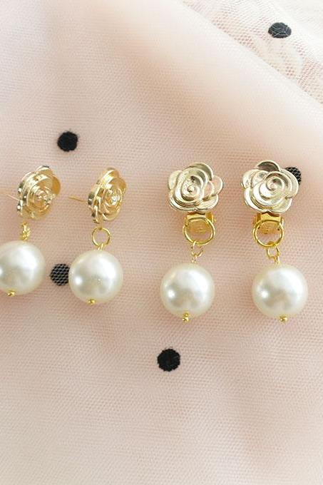 Simple Gold Rose Flower Faux Pearl Stud Post Earrings, Clip On No Pierce Earrings ,Sweet DDLG Baby Girl Jewelry, Bridesmaid Gift