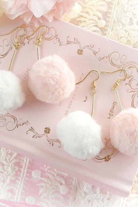 Baby Pink White Soft Faux Fur Pom Pom Dangle Earrings , Lovely Lolita Cute Kawaii Sweet DDLG Daddys Baby Girl Fairy Kei Jewelry Clip On