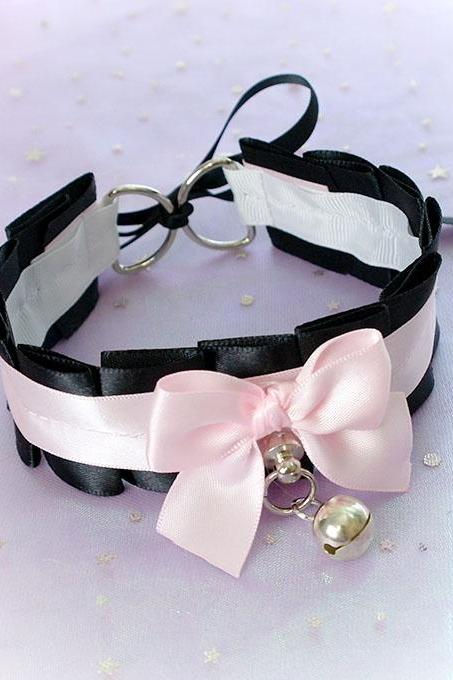 Choker Necklace ,Kitten Pet Play Collar ,Daddys Girl Pink Black Bow O Ring Bell Tug Proof , Lolita BDSM DDLG Daddys Girl Fairy Kei Jewelry