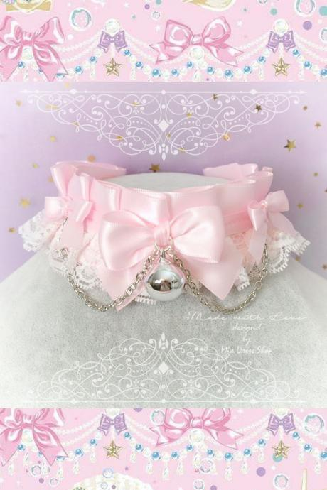 Choker Necklace ,Kitten Pet Play Collar, DDLG Baby pink White Lace Bow Bell Chain ,Daddys Girl Jewelry ,pastel Lolita ,Fairy Kei, BDSM