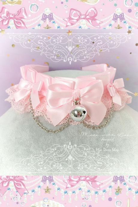 Choker Necklace , Princess Kitten Pet Play Collar ,DDLG Baby Pink Lace Chain Little Bow Bell ,Daddys Girl Jewelry pastel Lolita Fairy BDSM