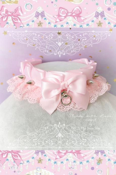 Choker Necklace , Princess Kitten Pet Play Collar ,DDLG Baby Pink Lace Bow Tug Proof Spikes ,Daddys Girl Jewelry pastel Lolita Fairy BDSM