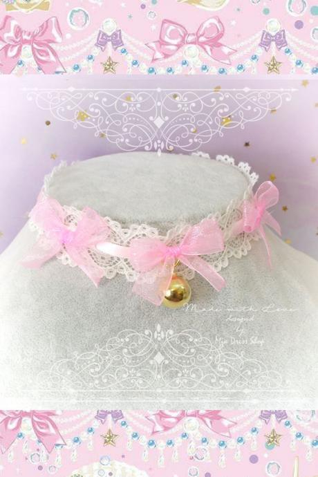 Choker Necklace ,Kitten Play Collar ,Ivory Pink Lace Little Bow Gold Bell, Kitten play collar Lolita Jewelry Fairy Kei DDLG Cute Kawaii