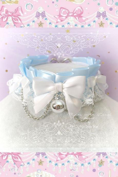 Choker Necklace ,Kitten Pet Play Collar, DDLG Baby Blue White Lace Bow Bell Chain ,Daddys Girl Jewelry ,pastel Lolita Maiden Fairy Kei BDSM
