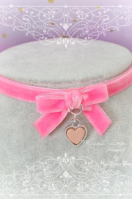 Necklace Choker Hot Pink Velvet Bow baby pink heart pendant , Kitten play collar, Lolita cute neko collar DDLG Daddys Baby Girl jewelry