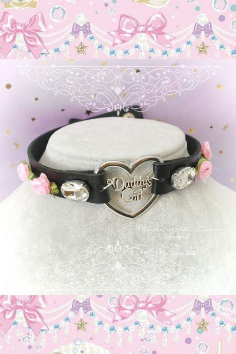 Choker Necklace , BDSM Daddys Girl Black Faux Leather Heart Pink Rose Rhinestone, Kitten Play Collar pastel goth Lolita Neko DDLG