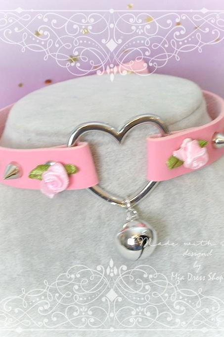 Choker Necklace , DDLG Daddys Girl Pink Faux Leather Heart pink Rose Spikes Bell, Kitten Play Collar Fairy Kei Lolita Neko Cat DDLG