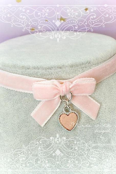 Velvet Choker Necklace ,Kitten Play Collar ,Daddys Girl Baby Pink Velvet Bow Heart pastel goth Lolita Kawaii Cute DDLG Adult Baby
