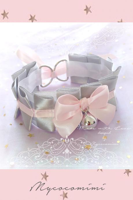 Choker Necklace , Kitten Rule Play Collar Silvery Gray Baby Pink Satin Bow Bell ,pastel goth Lolita Neko BDSM DDLG Daddys Girl Fairy Kei