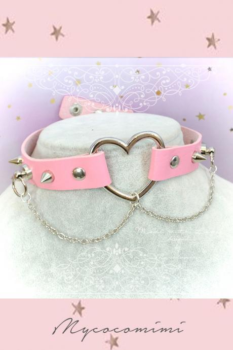 Sweet Sailor Moon Choker Necklace ,Kitten Rule Play Collar , BDSM DDLG Pink Satin White Lace Ruffles Bow Daddys Girl Kawaii pastel Fairy Kei